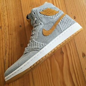 aab3e591cfdeb Nike Air Jordan 1 Flyknit US 8 UK 7 41 Wolf Grey Golden Harvest Pack ...