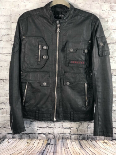 Mens Jacket Biker Faux S Leather Moto Black Remetee By Military Affliction YwqOxHI8tI