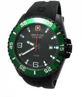 Swiss Military Hanowa Ranger Datum Uhr Schwarz Grün 06-4200.27.007.06 > > Neu