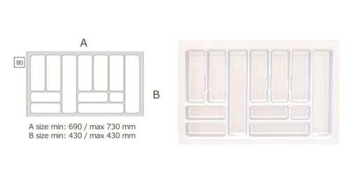 White Large Rack Drawer up to 83cm Organiser Utensil Cutlery 12 PKT Compartment