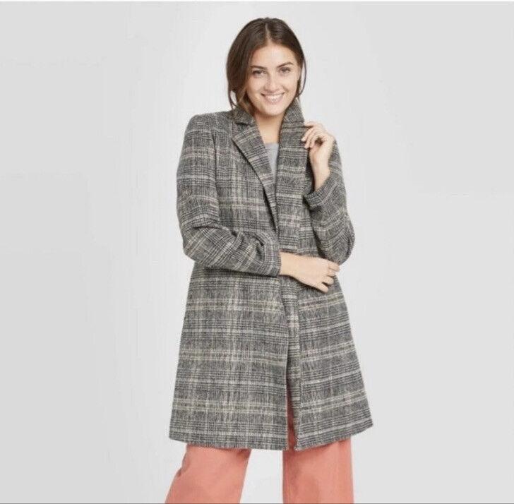 Women's Plaid Overcoat - A New Day-XXL