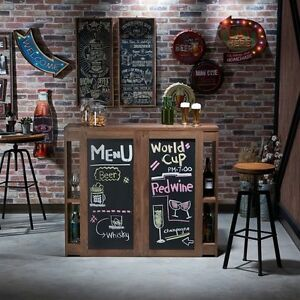 Image Is Loading Home Bar Pub Table Serving Chalkboard Wood Man