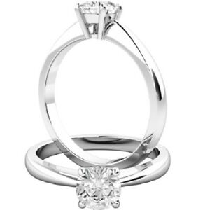 0.50 Ct Round Cut Moissanite Engagement Bridal Ring 18K Solid White Gold Size 7