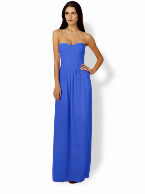 Parker Bayou Bluebird Pleated Front Strapless Silk Maxi Dress Size ...