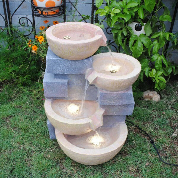 Feng Feng Feng Shui Garden Yard Big Outdoor Pots Water Fountain with Led Light ac0146