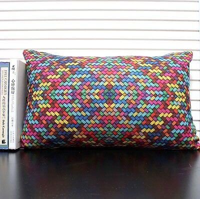 PCZ140 Throw Pillow Case Cushion Cover Decor Oblong 50cm Dazzle Colour Lattice
