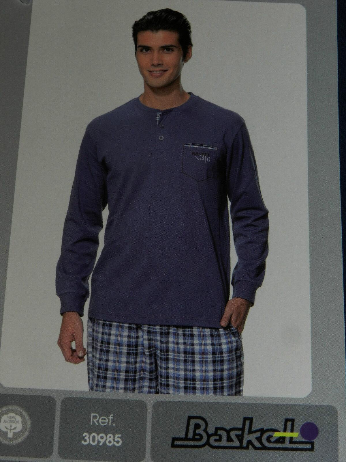 Pijama caballero Basket T.48 M 100% algodón, pantalón de tela Hecho en España