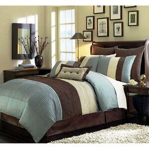 brown king size comforter Beige Blue Teal and Brown Luxury Stripe 8 Piece King Size  brown king size comforter