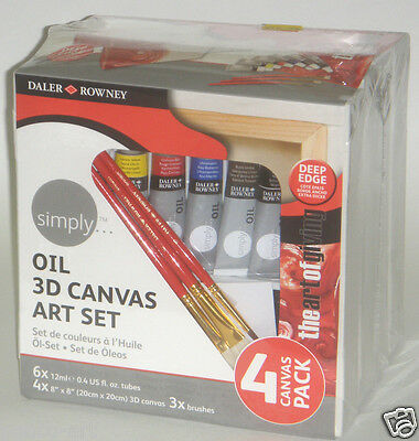 """Daler rowney set of 4 chunky canvases 8x8"""",6 tubes of oil paint & 3 brushes"""