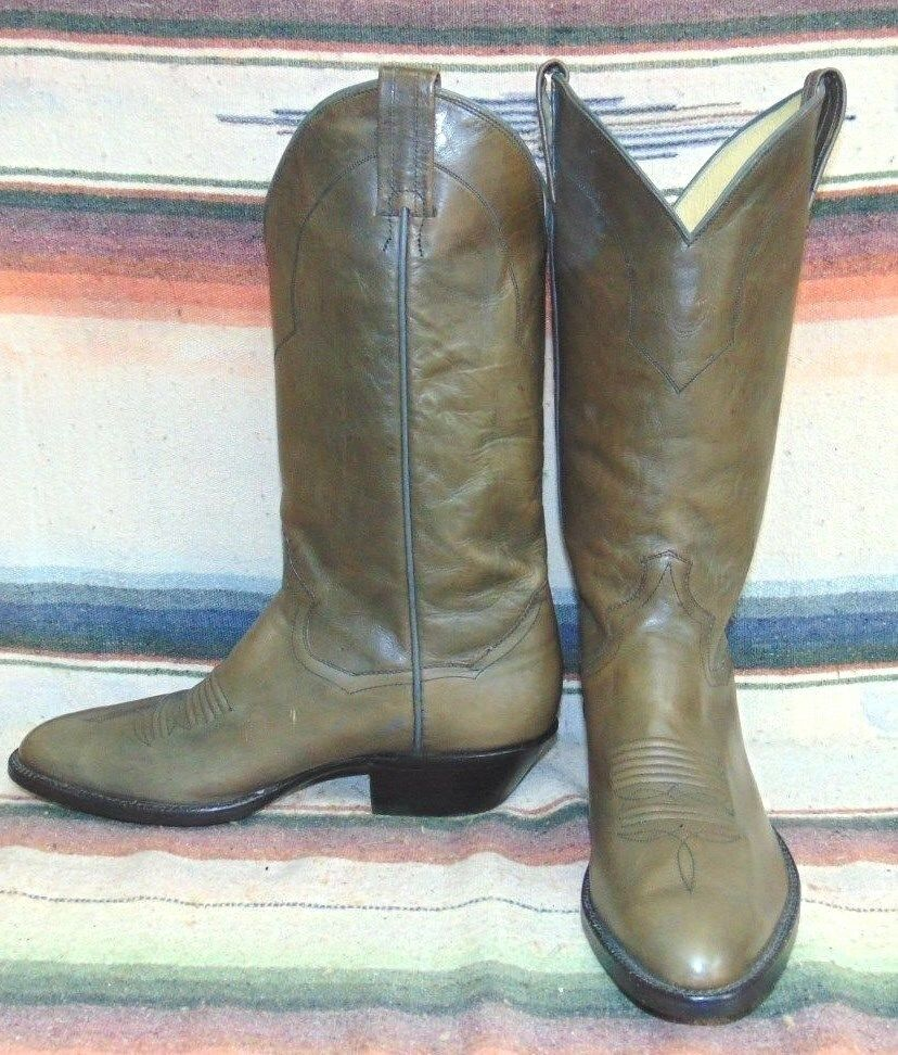 Vintage Sander Grayish Brown Leather Cowboy Boots Mens 7 D Womens 8.5 M New
