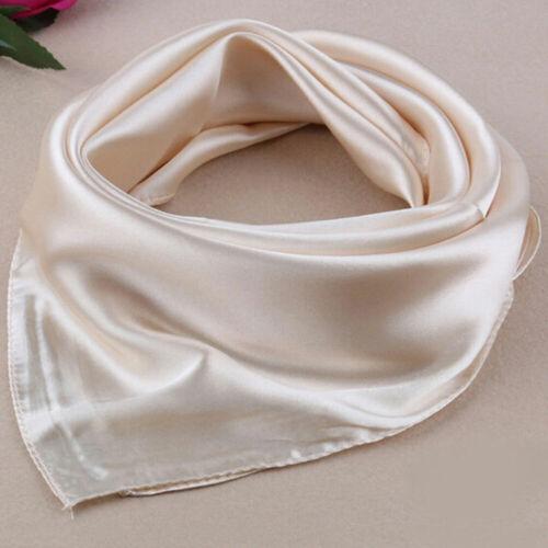 LD/_ Women Soft Silk Square Scarf Small Plain Neckerchief Head Neck Headband ta
