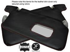 Red Stich 2X Sol Viseras Cuero Cubre se ajusta a Honda Civic EK3 EK4 EK9 EJ9 96-00