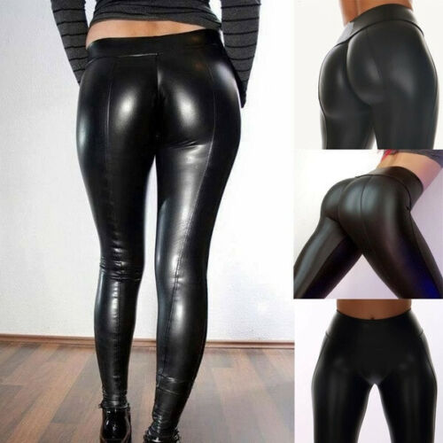 Women/'s Leggings PU Leather Pants Stretchy Skinny Pencil Trousers High Waisted C
