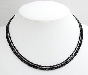 Schwarz Spinell Kette Edelsteinkette facettierte drei Reihen Collier Damen 46 cm