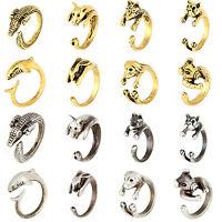 High Hot Vintage Antique Rings Jewelry Bronze Bulldog Statement Wrap Animal Ring
