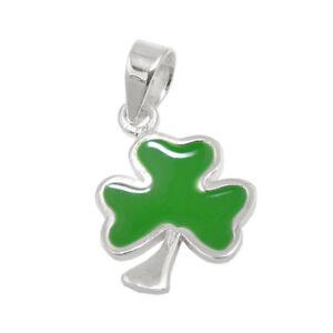 Anhänger Kleeblatt Kleeblättchen Grün Glückszeichen Aus 925 Silber Halsschmuck