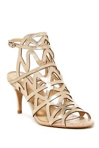 Vince-Camuto-Prisintha-Cutout-Caged-Sandal-Size-6W-Beige-Leather