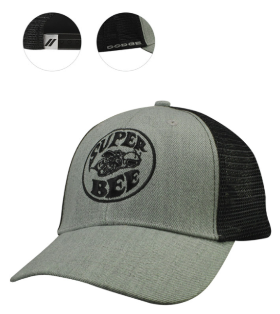 New Dodge Super Bee Cap Baseball Hat Mesh Back Panel Grey Wool One Size  Mopar c60eb0d2576
