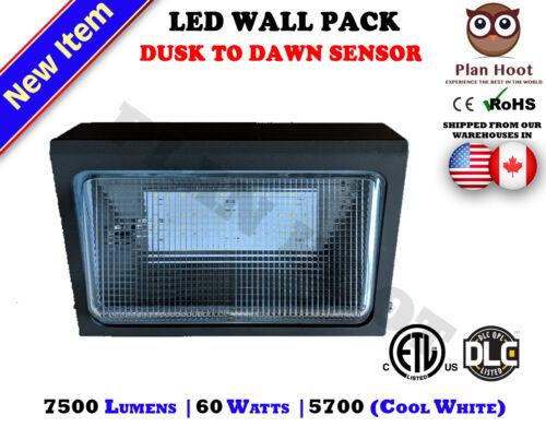 60 WATT LED Wall Pack Dusk to Dawn Sensor ETL DLC Outdoor Replaces 200 250W HID