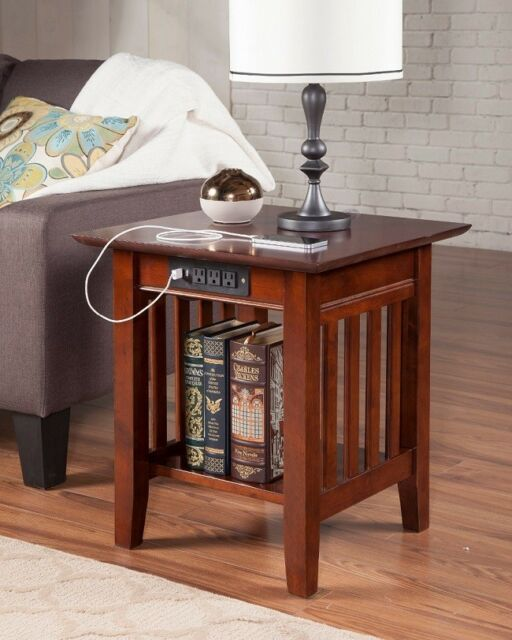 Wood End Table Walnut Finish Brown Usb Port Outlets Side Living Room Small