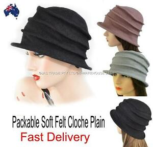 e65742b36 Ladies Bucket Hat Cap Packable Foldable Felt Great Gatsby 20s Cloche ...