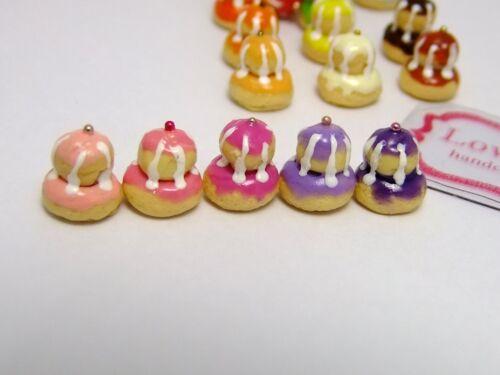 12 Pcs.of Dollhouse Miniature  Religieuse mini size 1 cm high Free shipping!