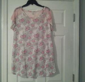Jessica-Simpson-nightgown-sleep-shirt-size-M-floral-white-pink-sleepwear