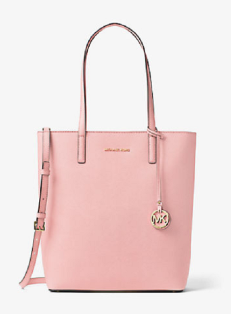 ca2595ed3143 New Authentic MICHAEL Michael Kors Hayley Large Top-Zip Leather Tote Blossom