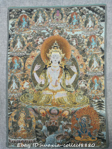 "24/"" Tibet Buddhism Cloth Silk embroidery Kwan-yin Guanyin goddess Thangka mural"