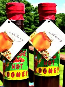 SALE-BUY-TWO-2-16oz-Hot-Honey-Infused-w-Chilies-Spicy-Condiment-Best-BBQ-Sauce