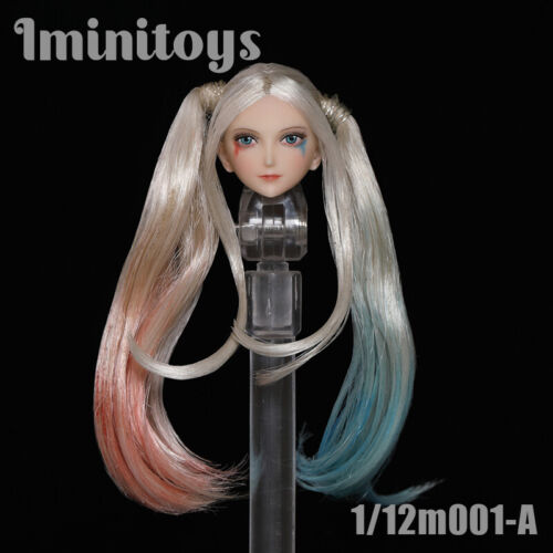 Iminitoys 1//12th Anime Beauty Head Sculpt Female Figure Soldier Carved Model Toy