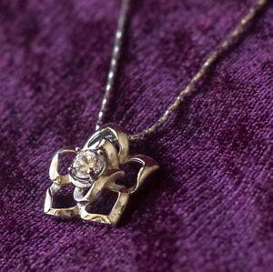 925-Sterling-Silver-Women-039-s-Flower-Pendent-Wedding-Bridal-Necklace-N22
