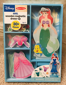Disney Melissa Doug Ariel Little Mermaid Magnetic Wooden Doll Dress-Up Play Set
