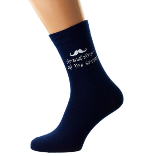 Navy Blue Moustache Design Wedding Mens and Childs Socks in Various Roles X6N858