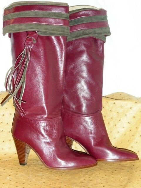 SUPERB BOOTS BIONDINI ALL ALL ALL LEATHER SUEDE BORDEAUX VINTAGE 80 NEW T.36 b7a776