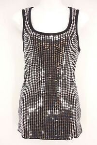 PANHANDLE-SLIM-Tank-Top-Women-039-s-XL-Black-Silver-Sequin-Sleeveless-100-Cotton