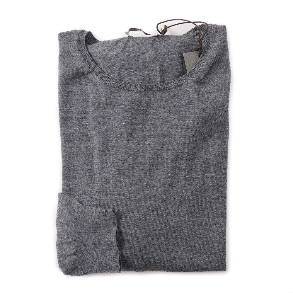 New 375 BOGLIOLI Fine-Gauge Lightweight Merino Wool Sweater Slim L grau