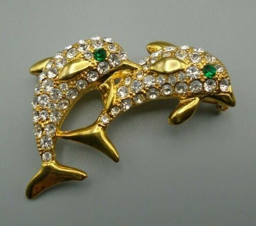 70s vintage resin jewelry Vintage two-coloured dolphin brooch