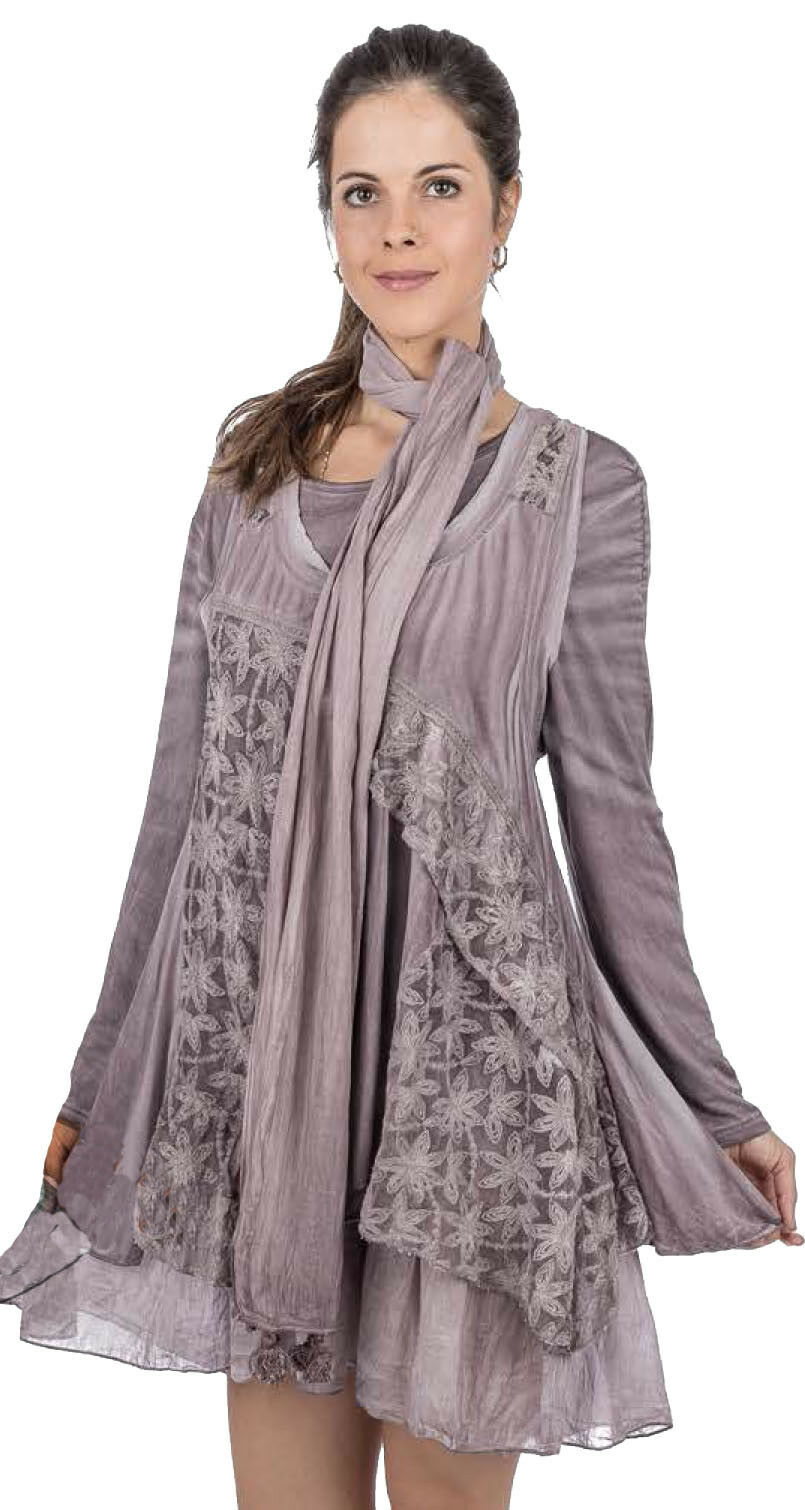 Nwt SACRED THREADS purple lace knit viscose cotton TOP VEST TUNIC + SCARF S M