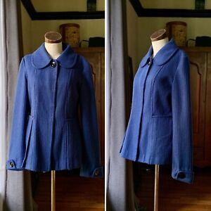 TULLE Anthropologie Blue Wool Jacket Coat HERRINGBONE Large