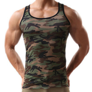 Men-Green-Army-Camo-Camouflage-Muscle-Gym-Bodybuilding-T-shirt-Tank-Top-Vest-ON