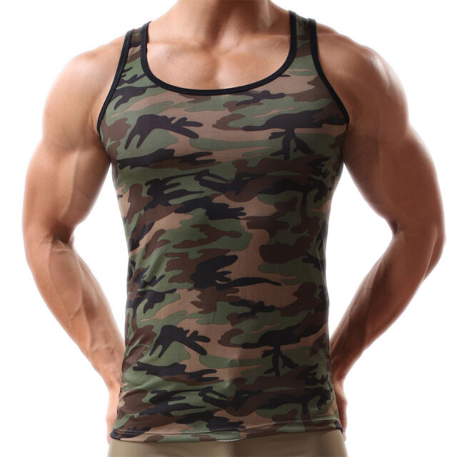 Men Green Army Camo Camouflage Muscle Gym Bodybuilding T-shirt Tank Top Vest PJB