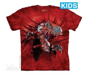 The Mountain 100/% Cotton Kid/'s T-Shirt Youth Blue Tee Dino Selfie S-M-L-XL NWT