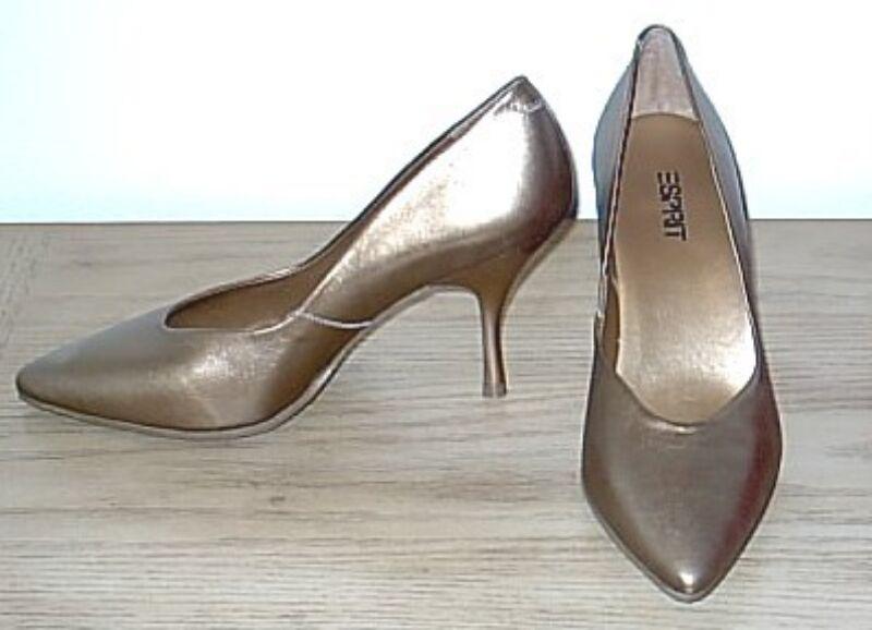 NIB Metallic PUMPS Esprit Stiletto Stiletto Stiletto Heels SIZE 8.5 Leather shoes ANTIQUE gold 94f74e