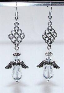 CHRISTMAS ANGEL EARRINGS CRYSTAL BEADS//SILVER WINGS