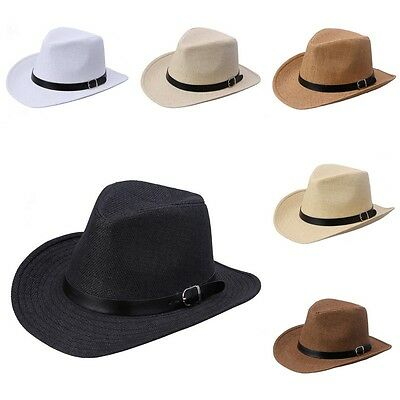 Men Fedora Jazz Hat Leather Band Summer Beach Straw Panama Cowboy Western Sunhat