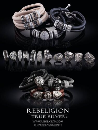 Totenkopf Rebeligion Silber für Lederarmband Black Rock Medium nichts sehen Bead