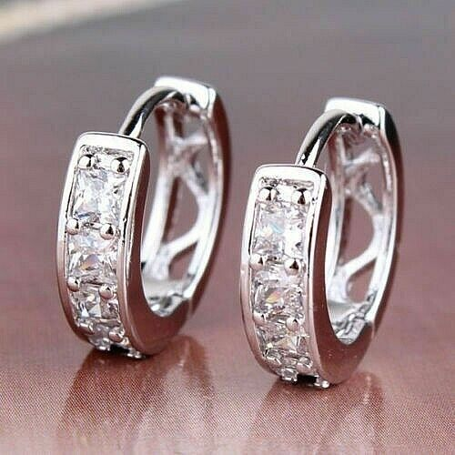 18k White Gold Filled Hoops Earrings With Cz - Various Sizes & Unisex.