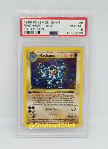 First Edition Shadowless Base Set Pokemon Card Machamp 8//102 Holo PSA Mint Foil