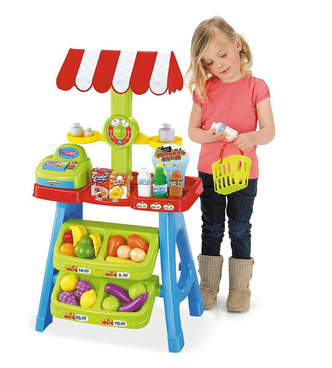 PRETEND PLAYSET MARKET STALL TOY CASH REGISTER FRUITS KIDS PLAY FOOD MONEY